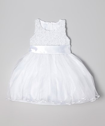 White Rosette Shimmer Dress - Infant, Toddler & Girls