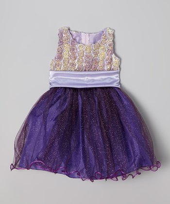 Purple Rosette Shimmer Dress - Infant, Toddler & Girls