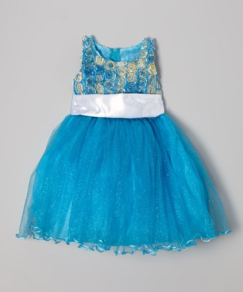 Blue Rosette Shimmer Dress - Infant, Toddler & Girls