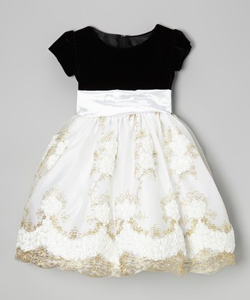 Black & White Floral Overlay Dress - Infant, Toddler & Girls