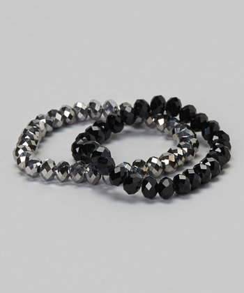 Jet & Hematite Stretch Bracelet Set