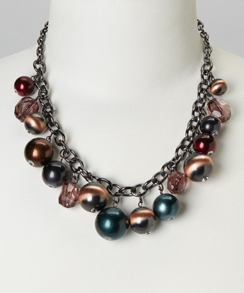 Copper & Black Lucite Bib Necklace