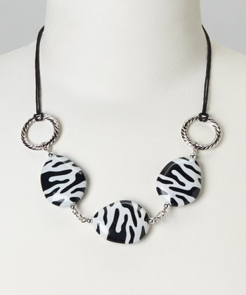 Black & White Zebra Lucite Bib Necklace