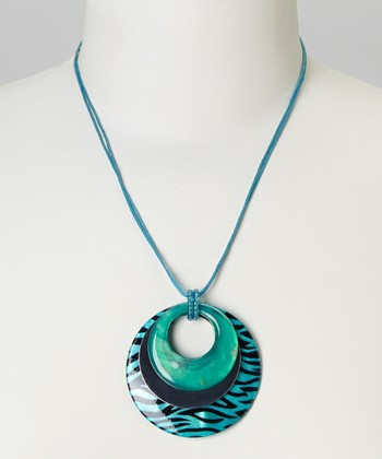 Teal Zebra Mother-of-Pearl Pendant Necklace
