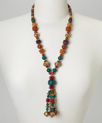 Red & Gold Beaded Necklace
