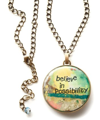 Gold 'Believe' Medallion Pendant Necklace