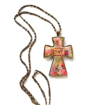 Gold 'Love' Large Cross Pendant Necklace