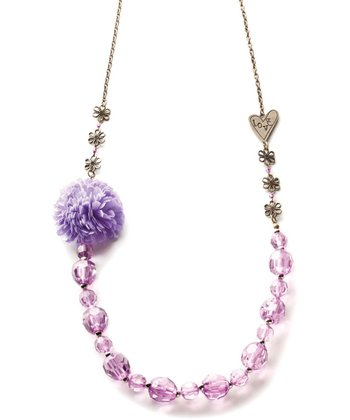 Gold & Purple 'Love' Beaded Necklace