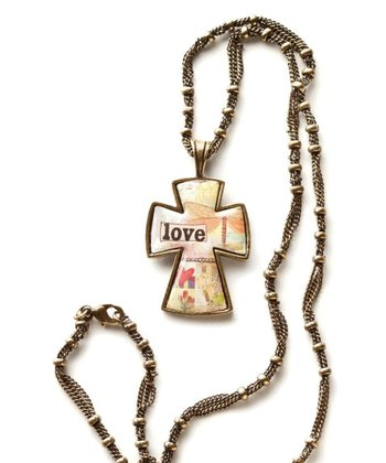 Gold 'Love' Cross Pendant Necklace