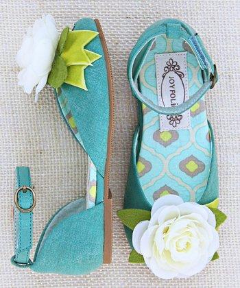 Teal & White Aubrey Flower Ankle-Strap Flats