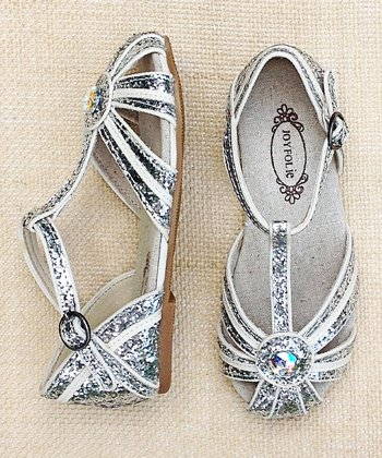White & Silver Hazel Closed-Toe Sandal