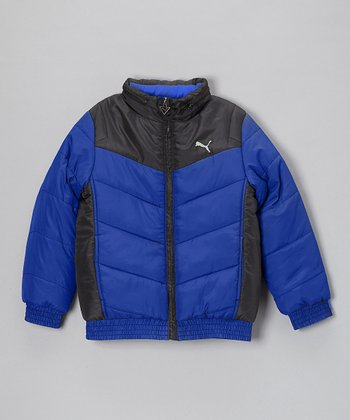 Liquid Blue Chevron Quilted Puffer Jacket - Toddler & Boys