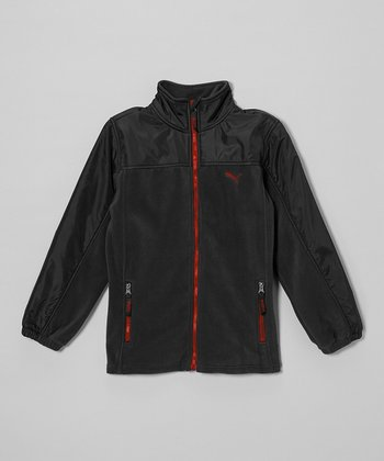 Black & Red Polar Fleece Zip-Up Jacket - Toddler & Boys