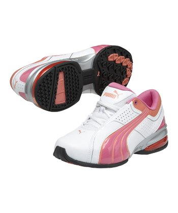 White & Fluorescent Pink Cell Tolero 3 Junior Running Shoe