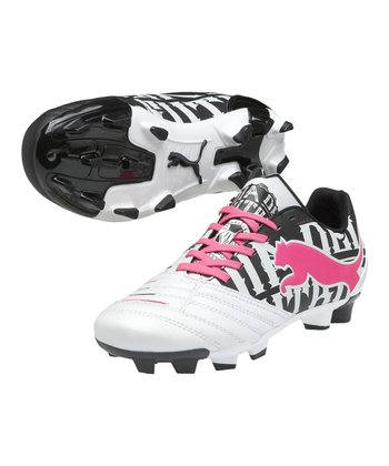 Metallic White PowerCat 3 FG Junior Soccer Cleat