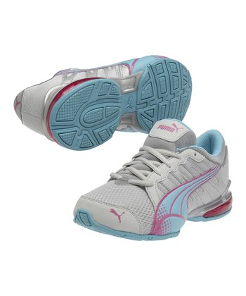 Gray Violet & Blue Curacao Voltaic 3 Junior Running Shoe