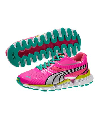 Fluorescent Pink & Silver Walleri Junior Running Shoe