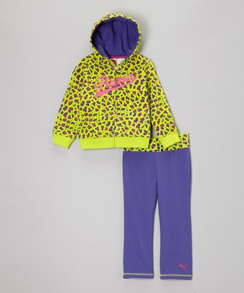 Lime Punch Leopard Zip-Up Hoodie & Pants - Infant, Toddler & Girls