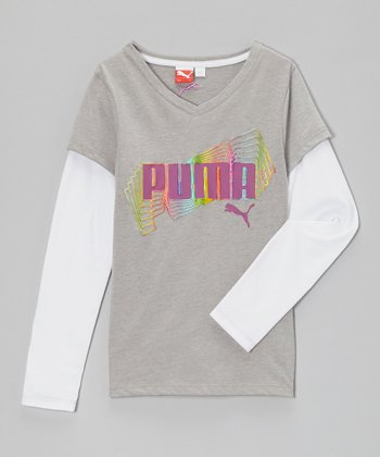 Heather Gray 'PUMA' Layered Tee - Girls