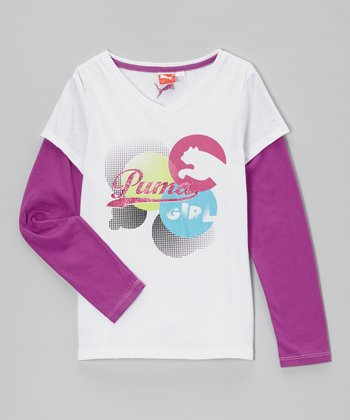 White 'PUMA Girl' Layered Tee - Girls