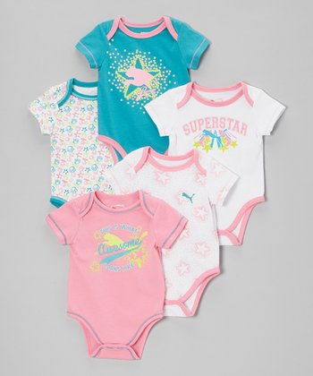 Sachet Pink & Blue Lap Neck Bodysuit Set - Infant