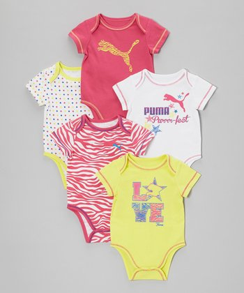 Magenta & Yellow Lap Neck Bodysuit Set - Infant