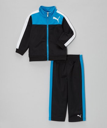 Active Blue Color Block Zip-Up Jacket & Track Pants - Toddler