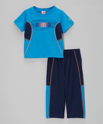 Brilliant Blue 'PUMA' Performance Tee & Pants - Toddler & Boys