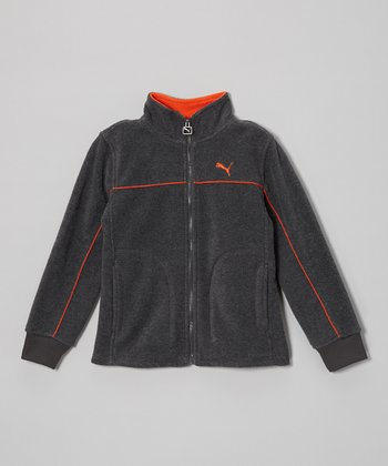 Heather Charcoal Polar Fleece Zip-Up Jacket - Toddler & Boys
