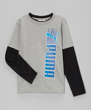 Heather Gray & Black 'PUMA' Slider Layered Tee - Toddler