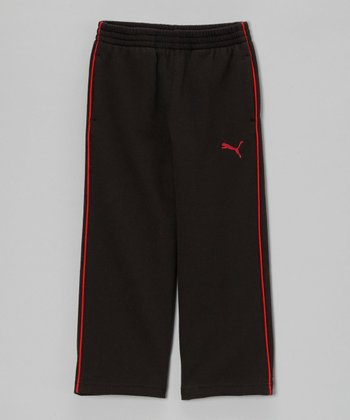 Black & Red Fleece Track Pants - Toddler & Boys