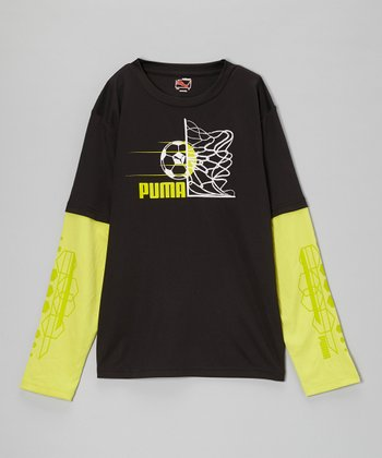 Black & Yellow Goal Layered Tee - Boys
