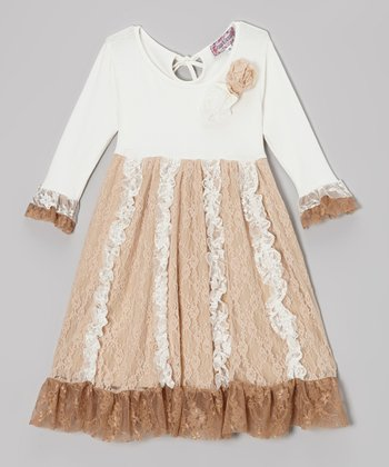Ivory & Tan Lace Ruffle Dress - Toddler & Girls