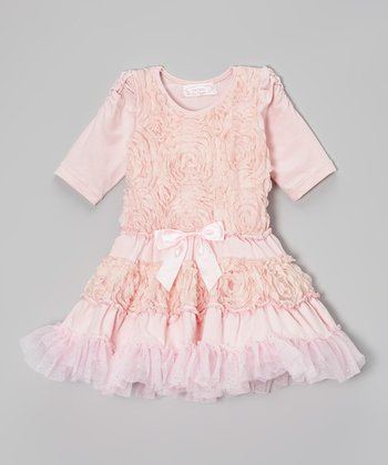 Pale Pink Ruffle Roses Dress - Infant, Toddler & Girls