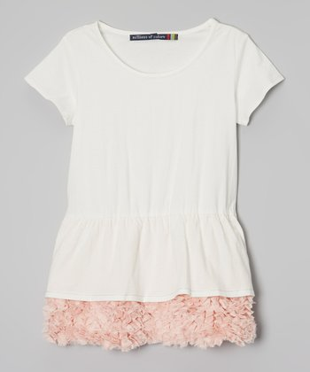 Soft White Party Tunic - Girls