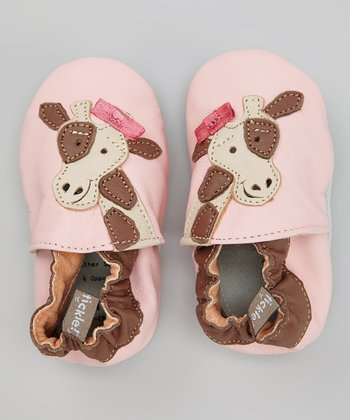 Pink & Brown Giraffe Bootie