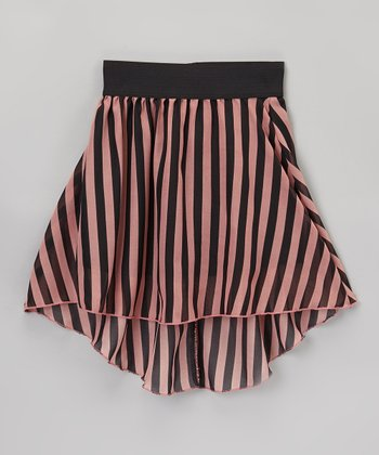 Pink & Black Stripe Hi-Low Skirt