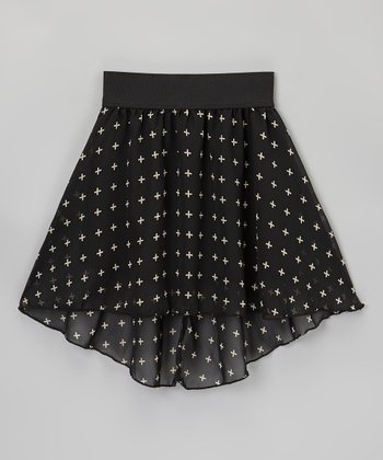 Black & Ivory Cross Hi-Low Skirt