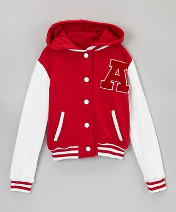 Red & White Letterman Hooded Jacket
