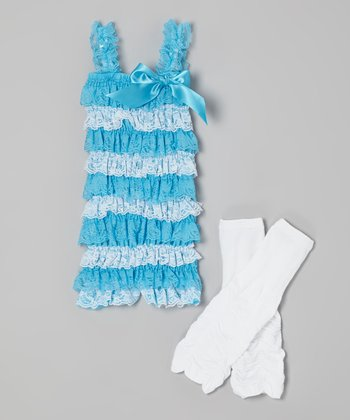 Turquoise Lace Romper & Leg Warmers - Infant