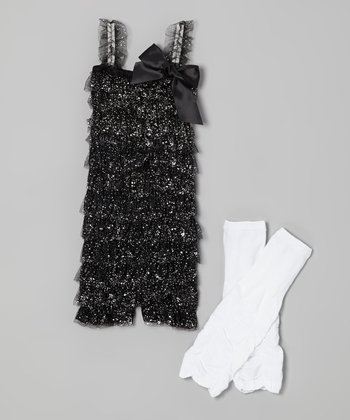 Black & White Glitter Romper & Leg Warmers - Infant