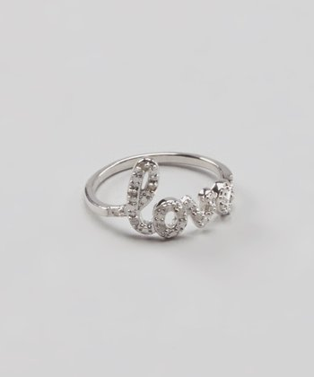Diamond & Sterling Silver 'Love' Ring