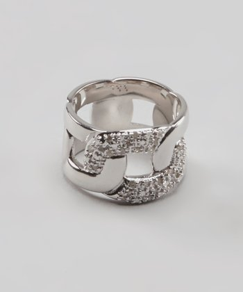 Diamond & Silver Link Ring