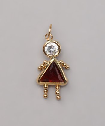 Dark Red January Birthstone Girl Pendant