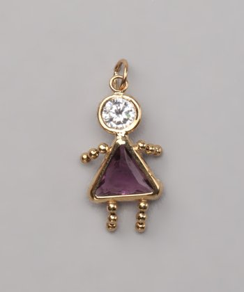 Purple February Birthstone Girl Pendant