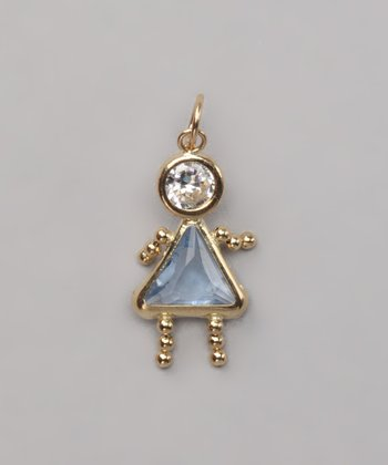 Blue March Birthstone Girl Pendant
