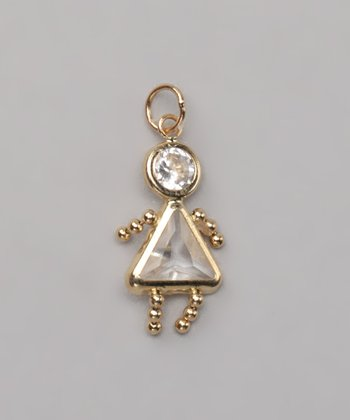 Clear April Birthstone Girl Pendant