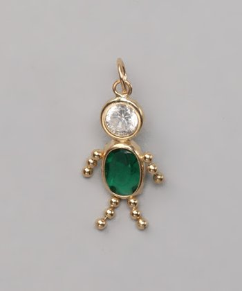 Dark Green May Birthstone Boy Pendant