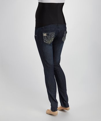 Dark Blue Denim Swirl Rhinestone Over-Belly Maternity Jeans