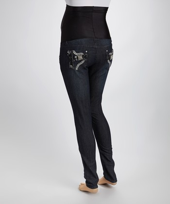Dark Blue Denim Horseshoe Rhinestone Over-Belly Maternity Jeans